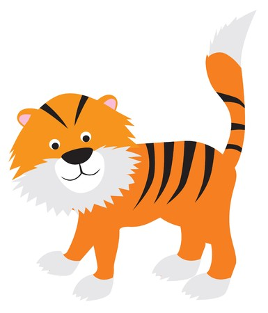 tiger modern colour cartoon character on white background Stock Vector - 7351174
