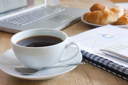 business breakfast meeting with coffee on a table Stock Photo - 7572342