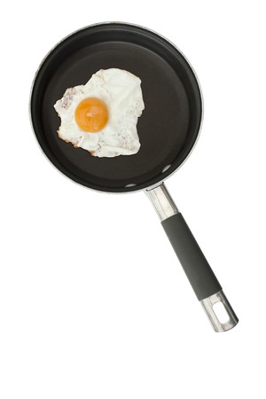 Fried egg in a frying pan isolated on a white background Stock Photo - 7613478