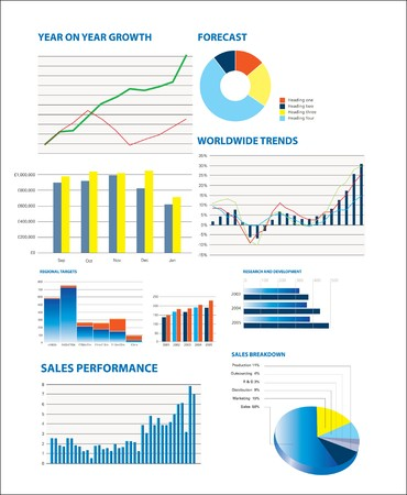 Business performance data including sales figures and charts Иллюстрация