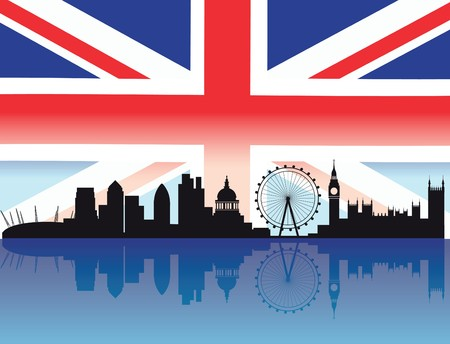 London skyline with flag and reflection of buildings in the thames Stock Vector - 7681374