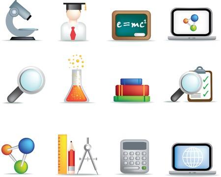 detaillierte Bildung und Wissenschaft farbige Symbolsatz auf weißem Hintergrund