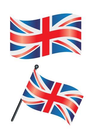 bandera reino unido: La bandera brit�nica o la Uni�n jack ondeando en el viento