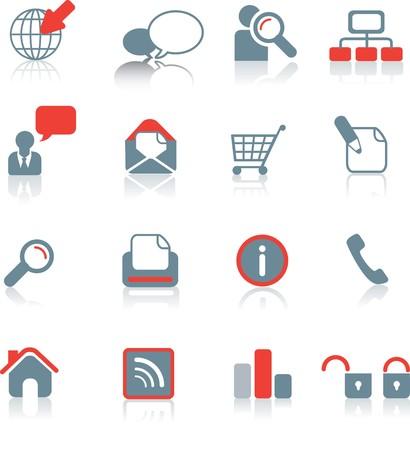 druckerei: Satz von typischen Website-Symbole auf wei�em Hintergrund mit Reflektion