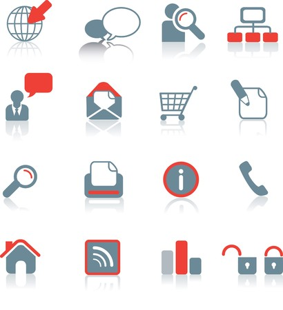 forum icon: Set of typical website icons on white background with reflection