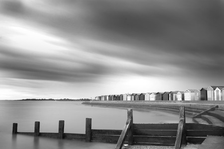 Shot at brightlingsea beachfront and huts in essex, uk photo
