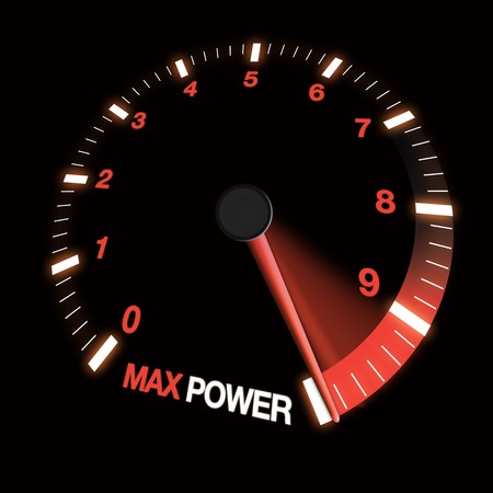 max: max power speed dial showing needle at fastest speed