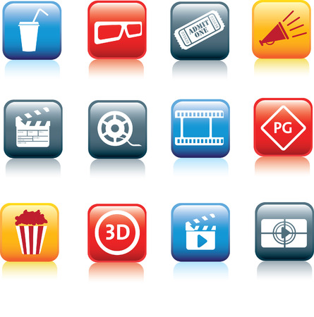 movie, film and cinema, typical square icon buttons Vector