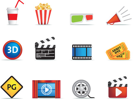 попкорн: collection of icons based on cinema, film and movies