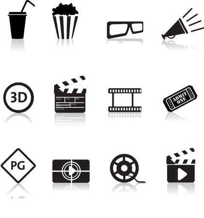 cinema screen: movie, film and cinema, typical black silhouette icon buttons