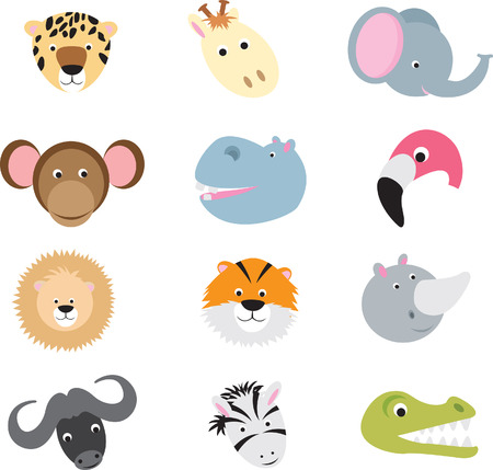 collection of cute wild animal faces as cartoons on a white background Vector