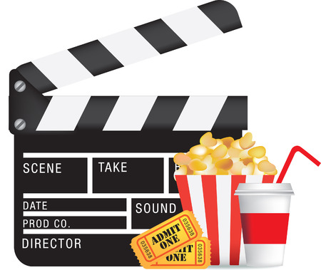 movie, film and cinema, entertainment colour illustration Vector