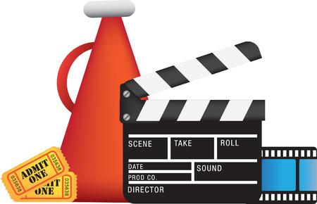movie, film and cinema, entertainment colour illustration Vector
