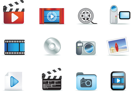 white bacground: movie, entertainment and photographic detailed  icon set