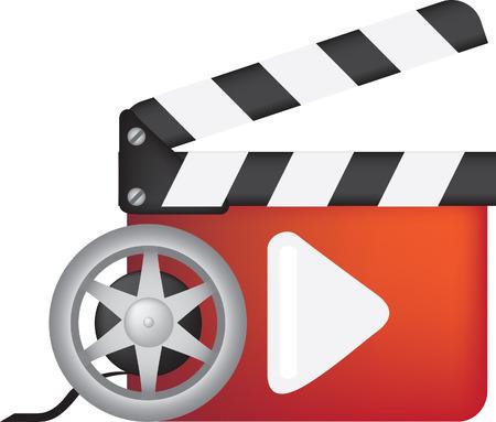 movie pelicula: pel�cula, el cine y el cine, jugar icono. Ilustraci�n de todo color