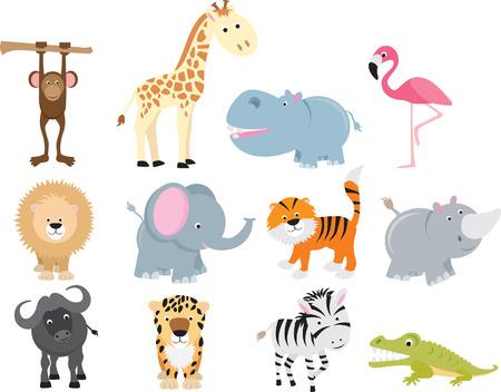 tigre caricatura: conjunto de iconos de animales y caricaturas de animales salvajes.  Vectores
