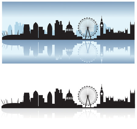 gherkin: london skyline including all the tourist attractions as a detailed black silhouette with the thames reflection