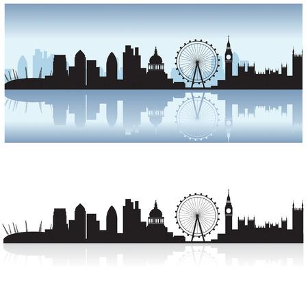 london: skyline van Londen met inbegrip van alle toeristische attracties als een gedetailleerde zwart silhouet met de thames reflectie Stock Illustratie