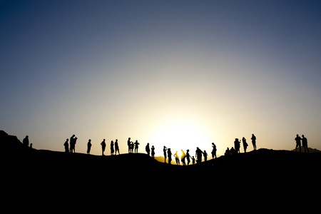 Shot in the province of Sinai in northern egypt, tourists are silhouetted against the dusk photo