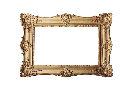 gold ornate eleaborate frame isolated on a white background photo