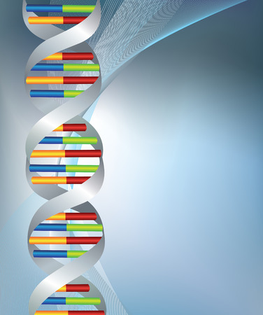 room for text: dna coloured strands on a silver background with room for text Illustration
