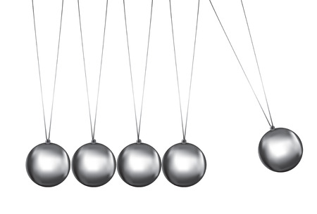 patience: newtons cradle silver balls viewed from the front