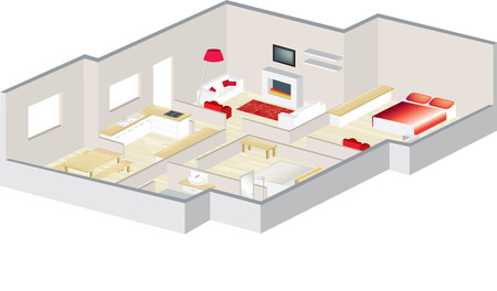isométrica: 3D floorplan with furniture visualised for an apartment or a house