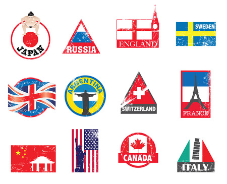 swiss flag: illustration with new designs to represent different countries