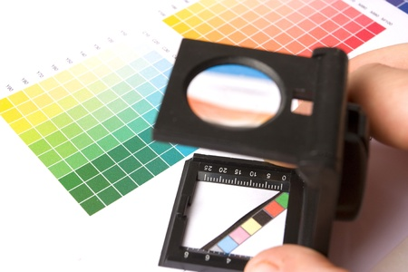 fineliner: graphic designer, printer or ilustrator with colour swatches