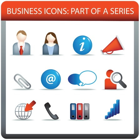 modern business icon set of illustrations in colour illustration