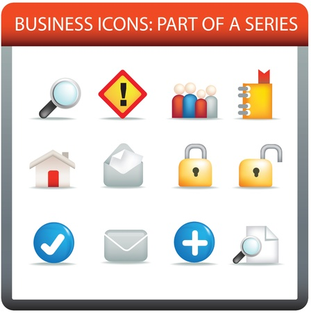 be aware: modern business icon set of illustrations in colour