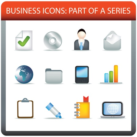 modern business icon set of illustrations in colour Stock Illustration - 8595683