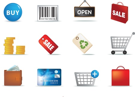 colour illustration of a set of modern retail shopping icons Stock Illustration - 8595680