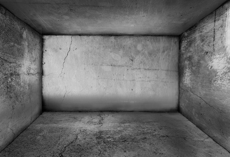 concrete room: Old grey distressed room with no windows, grunge style