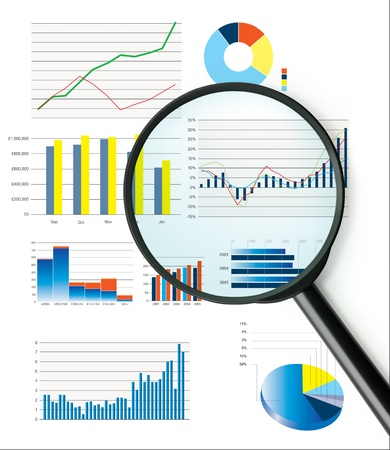 colour chart: Business performance data including sales figures and charts Stock Photo