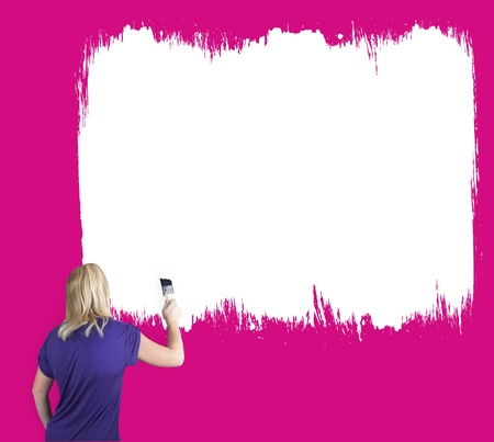 30 s: person painting a pink wall with white paint
