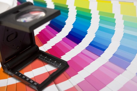selection of colour swatches and printers or photographers lupe Stock Photo - 8632774