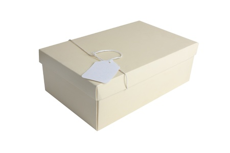 lable: Shoe or gift box with lable isolated on white background