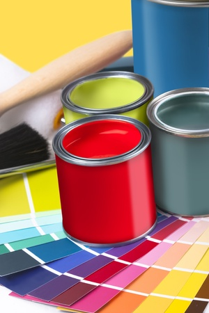 home decorating: selectionof painting and home decorating coloured swatches