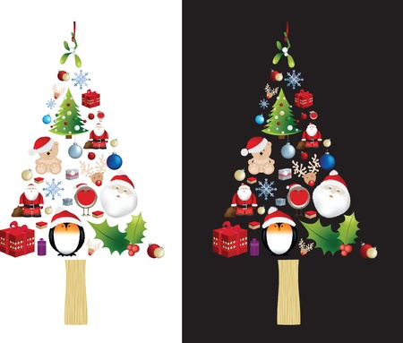 deign: symbol of a christmas tree made up from many different christmas elements Illustration