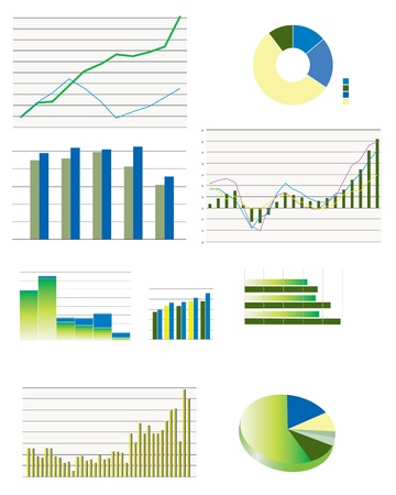 Pie charts, bar and line business graphs showing performance and sales Иллюстрация