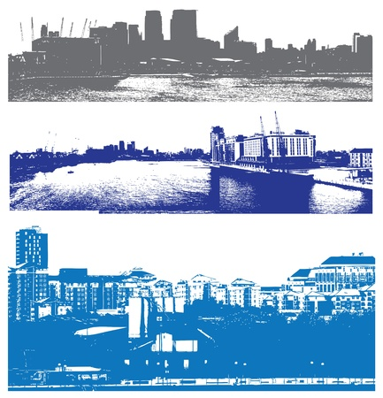 docklands: London skyline as viewed from the docklands in a grunge urban style Illustration