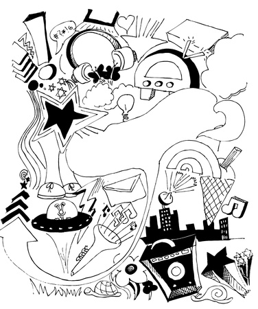 hand drawn urban music and background elements Vector