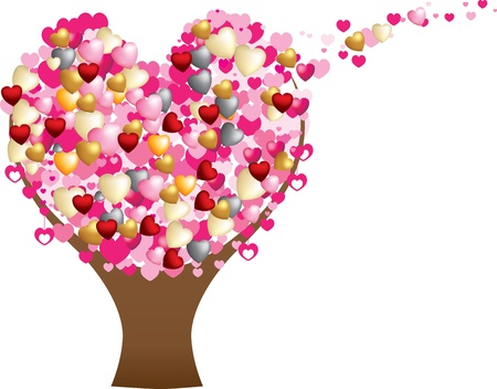 detailed flat and 3d hearts forming the shape of a love tree Stock Vector - 8706784