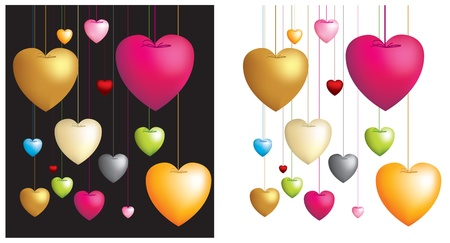 illustration on white and black of love hearts dangling on strings Stock Vector - 8706800