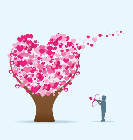 3d person: a person shoots hearts into a tree of love