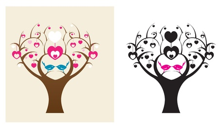 a pair of love biirds in a stylised tree Stock Vector - 8706795