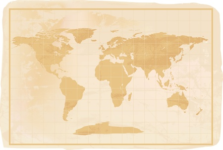 vintage world map: illustration of a yellow old vintage world map with crreases and a little dirty