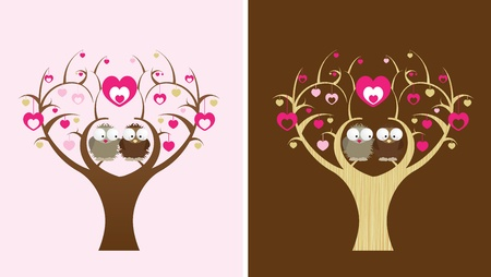 lady bird: 2 owls sit in a love tree, 2 colour options Illustration