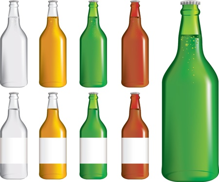 detailed set of different beer, ale and lager bottles